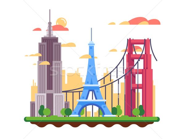 Stock photo: Famous landmarks flat design