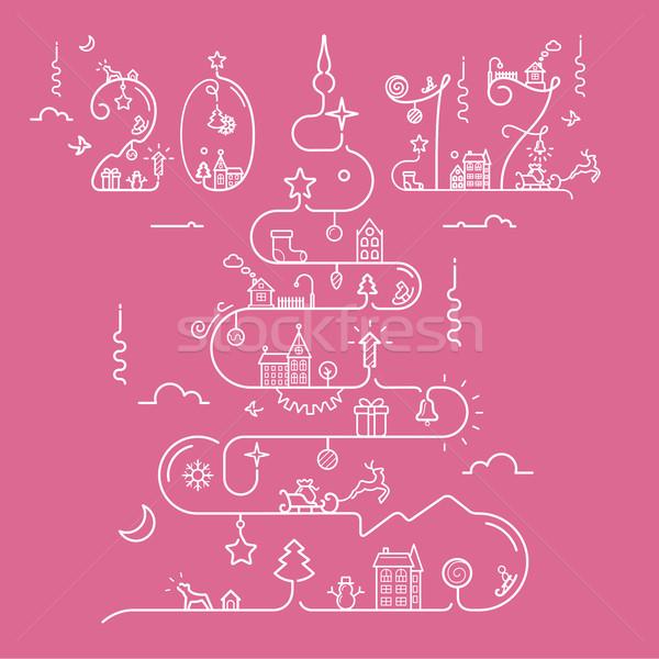 árvore de natal abstrato linha estilo natal Foto stock © jossdiim