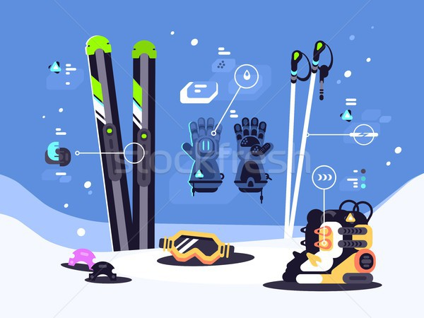 Set of equipment for skiing Stock photo © jossdiim