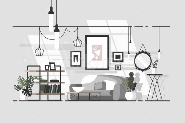 Gezellig woonkamer stijlvol interieur sofa boek Stockfoto © jossdiim