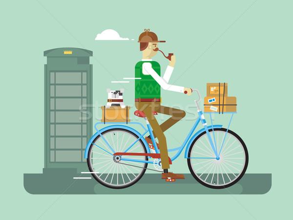 Retro Briefträger Fahrrad Mann Lieferung Service Stock foto © jossdiim