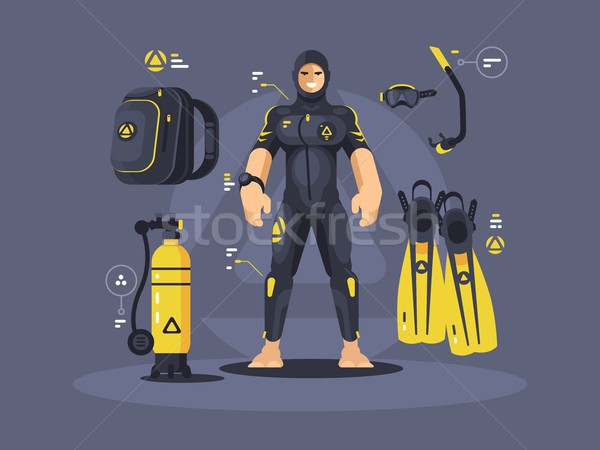 Diver in wetsuit and diving equipment Stock photo © jossdiim