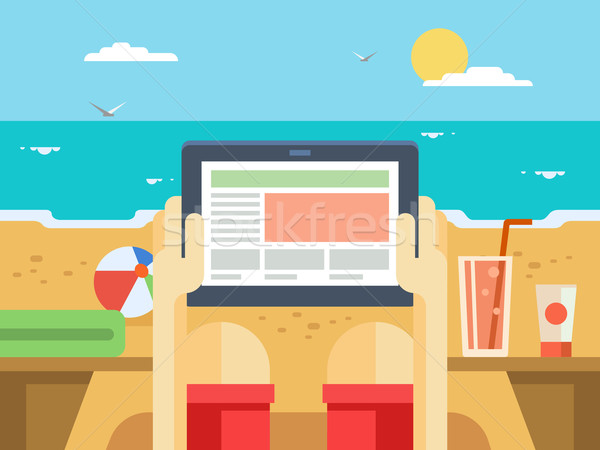Digital tablet on beach Stock photo © jossdiim