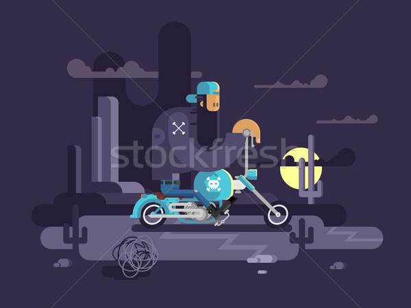 Cool biker on a motorcycle Stock photo © jossdiim
