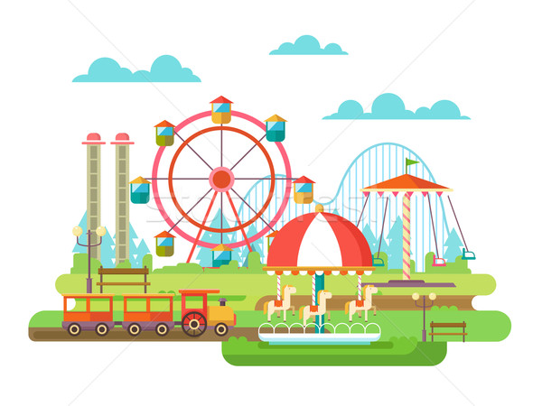 Parco di divertimenti design equitazione giostra famiglia vacanze Foto d'archivio © jossdiim