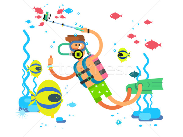 Diver character flat design Stock photo © jossdiim