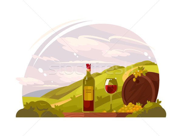 Vineyard with rich harvest Stock photo © jossdiim