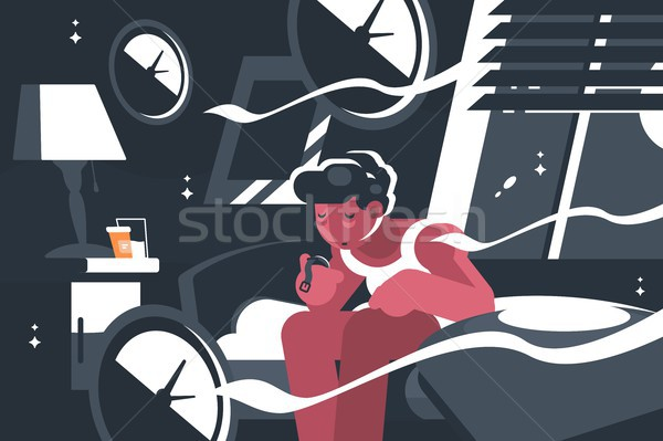 Homme insomnie Guy nuit lit horloge Photo stock © jossdiim