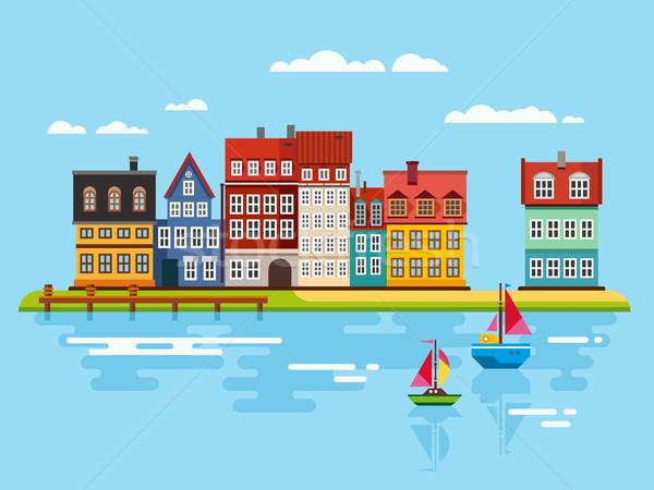Port bord de l'eau bateaux rivière vecteur maison Photo stock © jossdiim