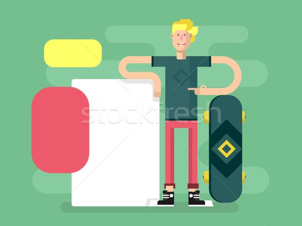Сток-фото: скейтбордист · реклама · плакат · спортсмен · молодые · Skate