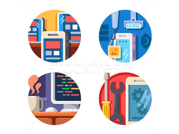 プログラミング 携帯 アプリケーション 書く コード ストックフォト © jossdiim
