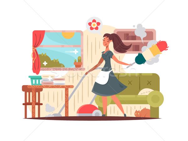 Meisje huishoudster appartement stof huis schoonmaken Stockfoto © jossdiim