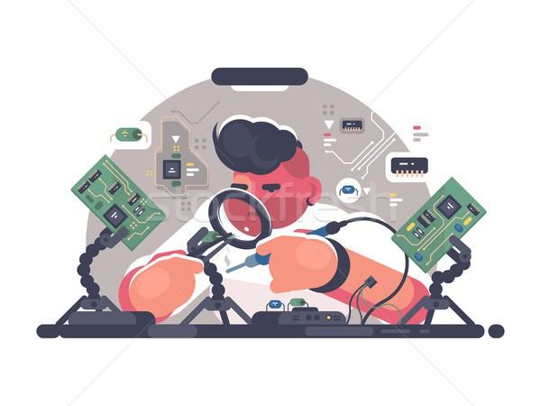 Man solder iron electric board Stock photo © jossdiim