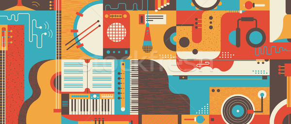 Abstract Music Background flat vector illustration Stock photo © jossdiim