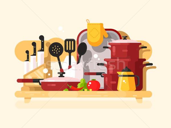Cuisine plats design cuisson cuisine cuisine Photo stock © jossdiim