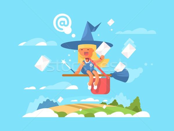 Postal fairy on a broom Stock photo © jossdiim
