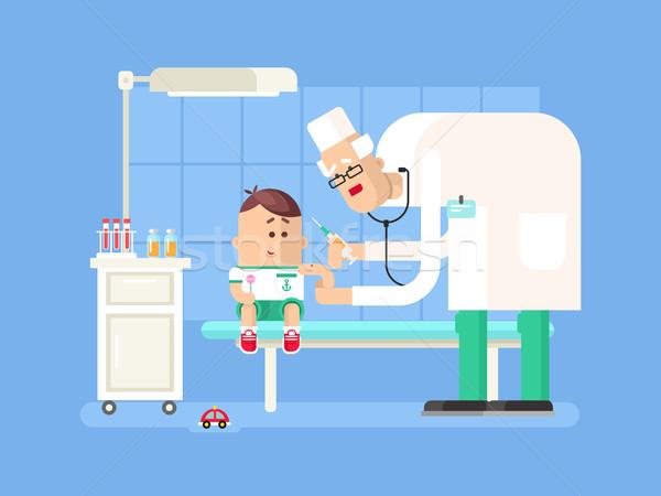 Doctor doing child vaccination Stock photo © jossdiim
