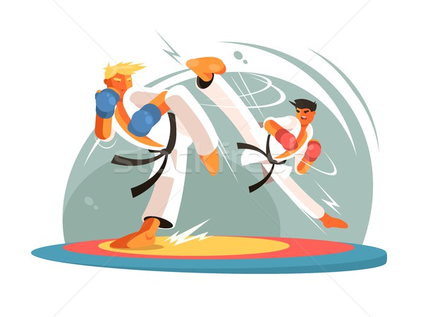Guys karate sparring for training Stock photo © jossdiim