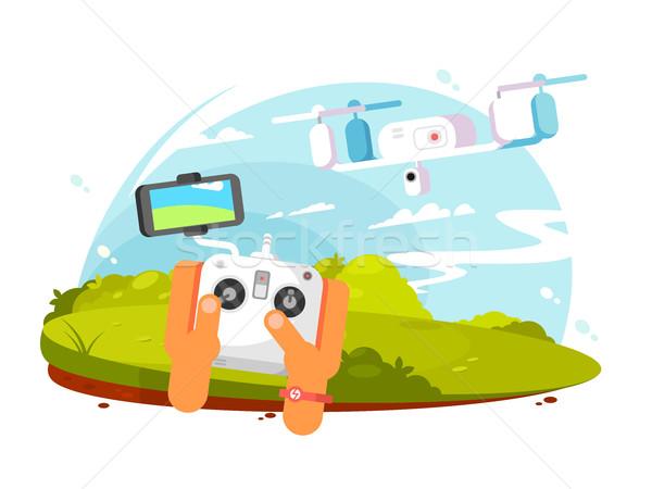 Driving quadrocopters design flat Stock photo © jossdiim