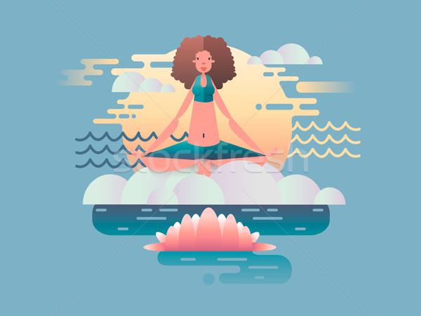женщину медитации дизайна йога здоровья создают Сток-фото © jossdiim