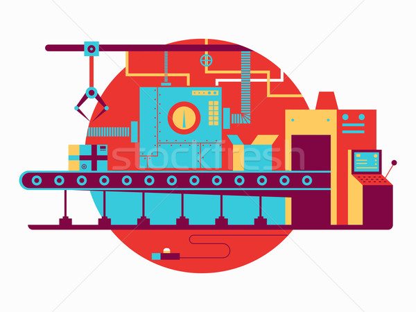 Conveyor design flat Stock photo © jossdiim