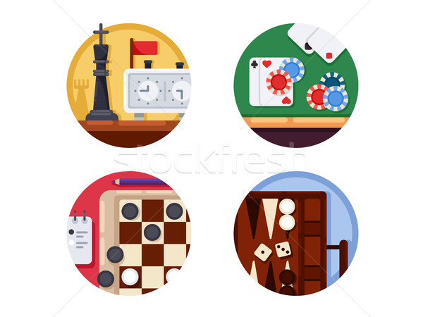 Stock photo: Board games set of icons