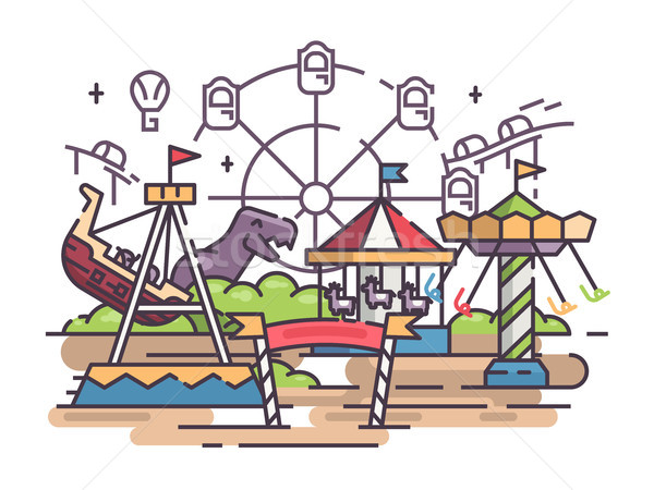 Amusement park with swing and ferris wheel Stock photo © jossdiim