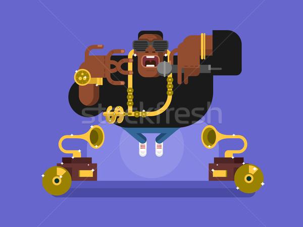 Fekete rapper karakter személy afrikai zene Stock fotó © jossdiim