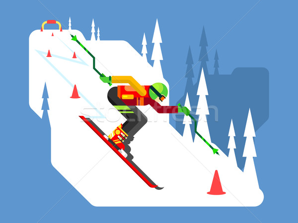 Stock photo: Slalom downhill skiing