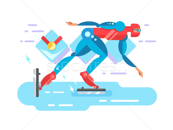 Ice speed skater cartoon character Stock photo © jossdiim