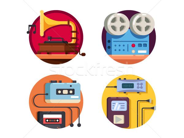 Music player vintage retro icons Stock photo © jossdiim