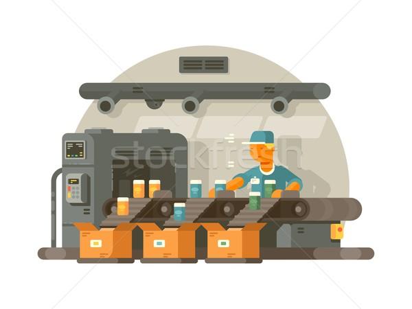Stockfoto: Fabrieksarbeider · permanente · lijn · verpakking · man · achtergrond