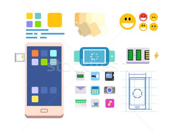 Em desenvolvimento móvel aplicativo traçado teia tecnologia Foto stock © jossdiim