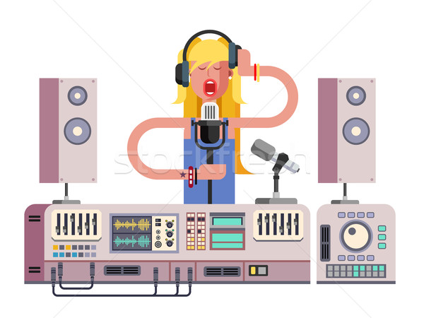 Stock photo: Girl singing in sound recording studio