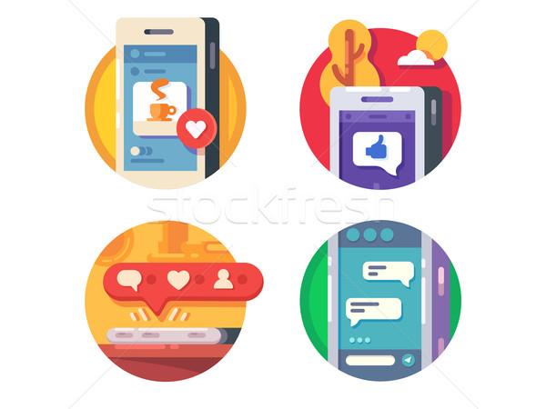 Como redes sociales establecer iconos vector negocios Foto stock © jossdiim