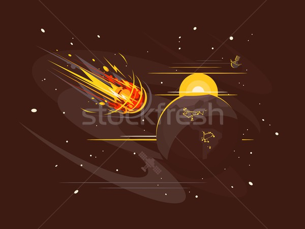 Burning comet in space Stock photo © jossdiim