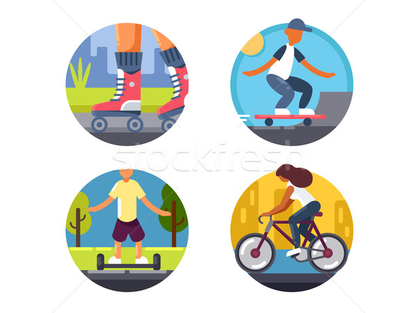 Ride bicycles or roller skate icons set Stock photo © jossdiim