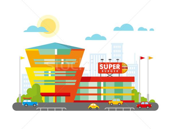 Supermarket Building Facade with Parking in front of it Flat Design. Stock photo © jossdiim