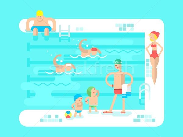 Publicznych basen wody sportu resort pływać Zdjęcia stock © jossdiim