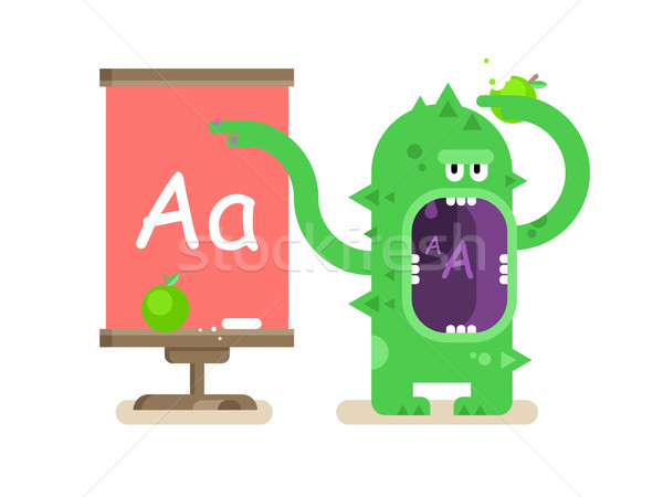 Karikatur Monster Alphabet Schule Bildung Schreiben Stock foto © jossdiim