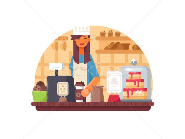 Бейкер продавец женщину кассир хлебобулочные дизайна Сток-фото © jossdiim