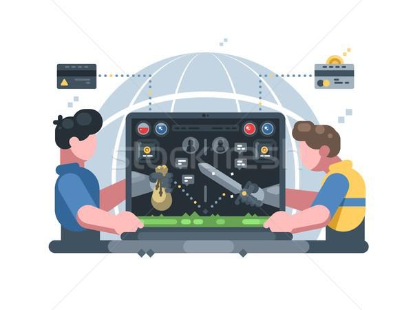 Ceny online gra komputerowa grać faktyczny świat Zdjęcia stock © jossdiim