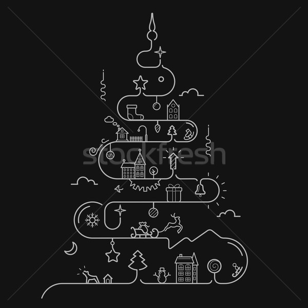 Abstract kerstboom lijn stijl communie christmas Stockfoto © jossdiim