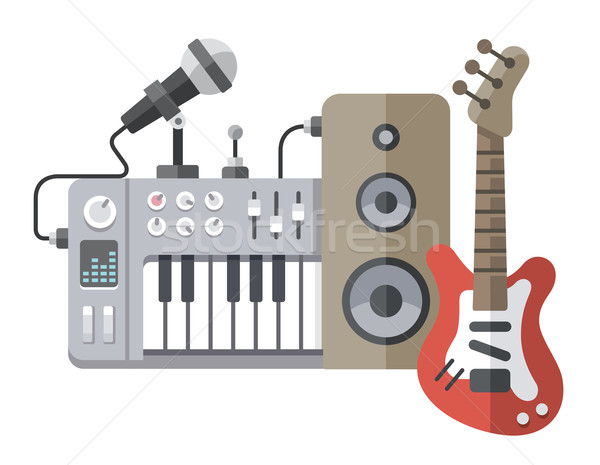 Music tools in flat style: guitar, synthesizer, microphone, spea Stock photo © jossdiim