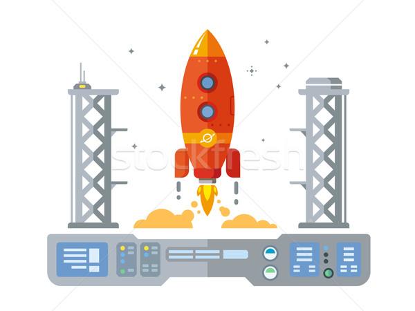 Stockfoto: Raket · startup · illustratie · retro-stijl · brand · ontwerp