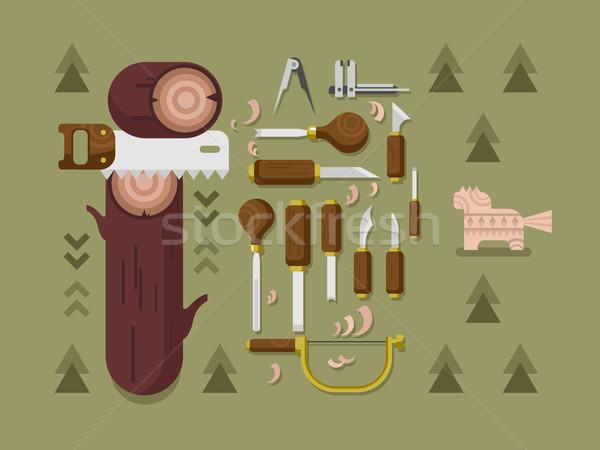 Instrument timmerwerk tool beitel zag hout Stockfoto © jossdiim
