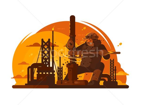Oilman drills new borehole Stock photo © jossdiim