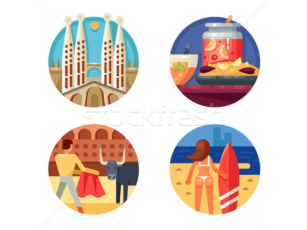 Holidays in Spain set icons Stock photo © jossdiim