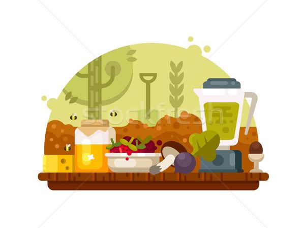 Bioélelmiszer zöldségek gyümölcsök gombák méz növekvő Stock fotó © jossdiim