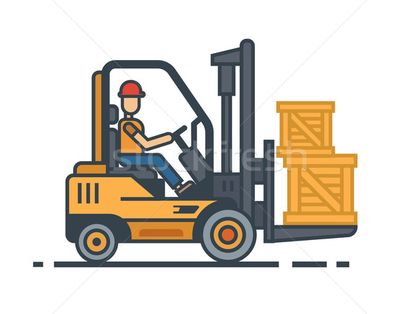 Forklift transporting boxes Stock photo © jossdiim